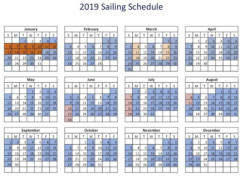 2019 Sailing Schedule