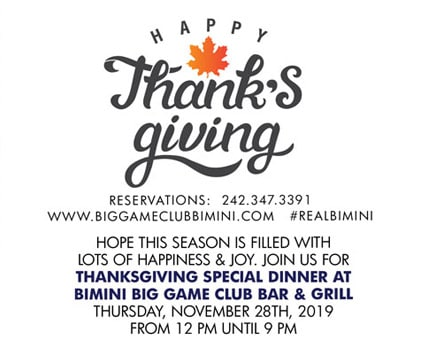 Thanksgiving Special Dinner at Bimini Big Game Club Bar & Grill